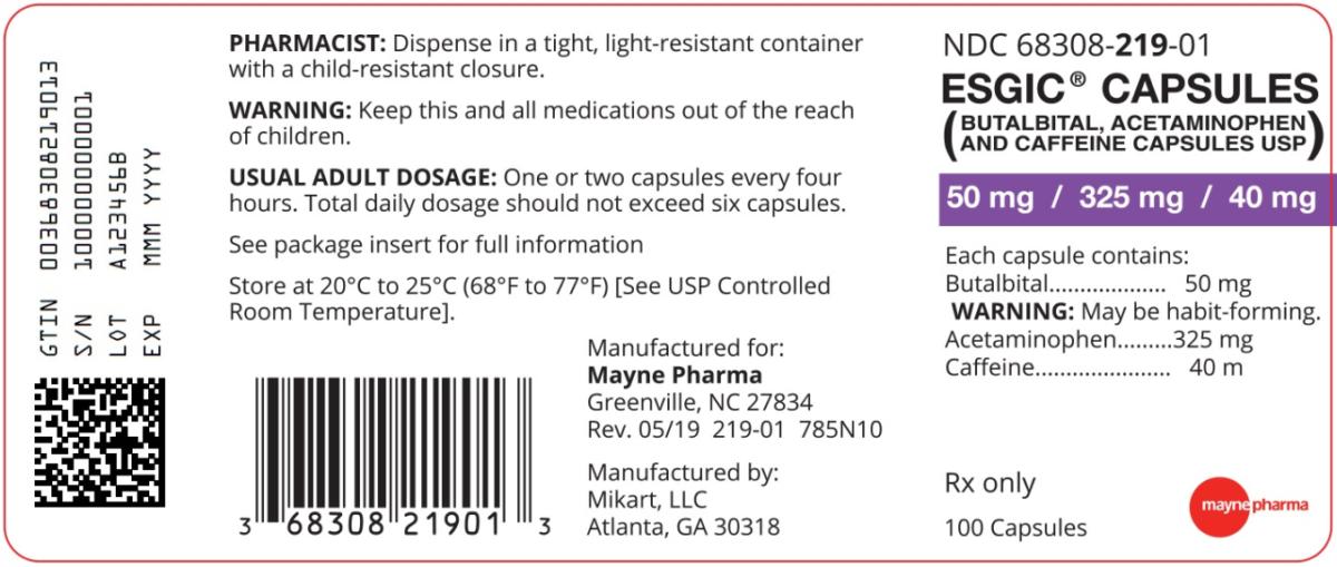esgic Capsules NDC68308-219-01